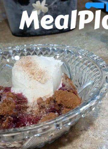 Wild Blackberry Cobbler Recipe Vanilla Ice Cream Clear Dish Dessert Recipe Video Cinnamon Sugar A La Mode