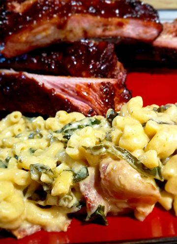 Ultimate Smoked Gouda Mac and Cheese with Collard Greens and Bacon | Great as a side or entree | From MealPlanHQ.com