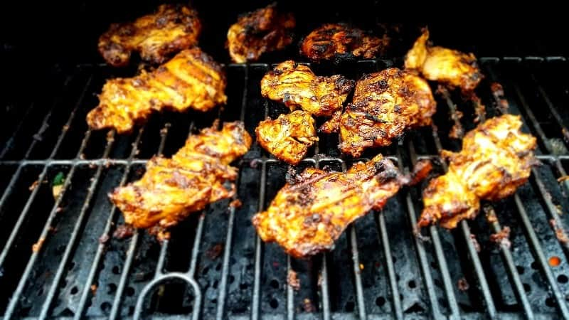 Copycat Chipotle Chicken on the grill