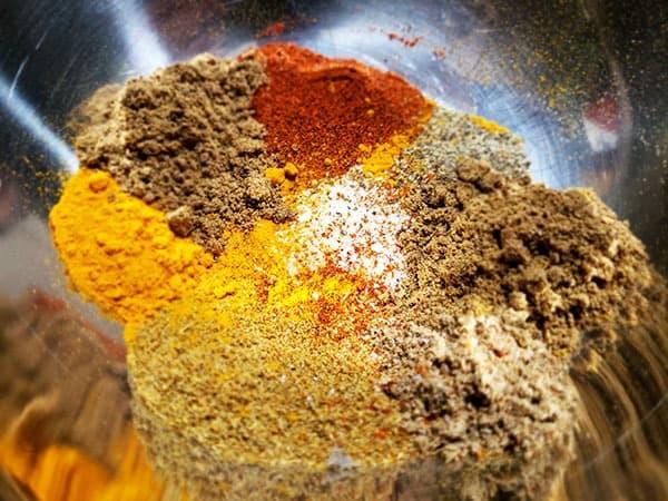 Chicken Tikka Masala Spice Blend in a metal bowl