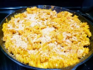 Buffalo Chicken Mac and Cheese Finished in pan