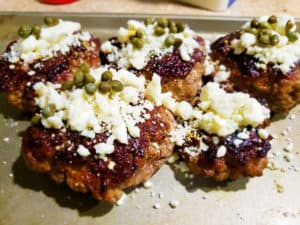 Lamb Bacon Burgers with Feta