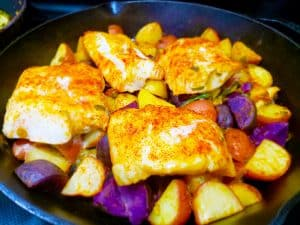 Roasted Cod Over Rainbow Potatoes Finished