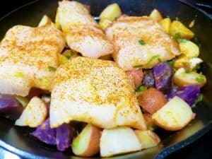 Roasted Cod Over Rainbow Potatoes Precooked