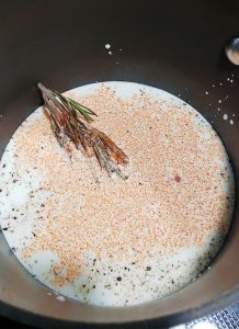 Rosemary and paprika cooking in cream
