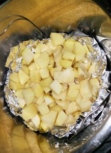 Potatoes cooking in Instant Pot