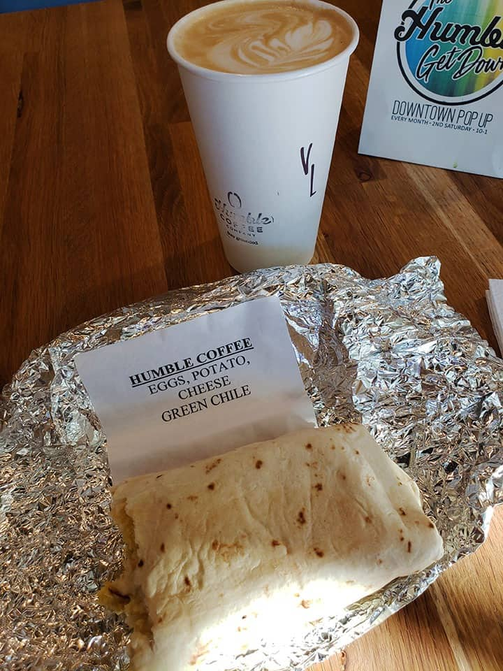 Vanilla Latte and Green Chile Burrito from Humble Coffee in Albuquerque, New Mexico.