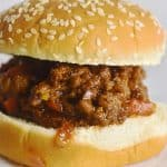 Sloppy Joe on sesame seed bun