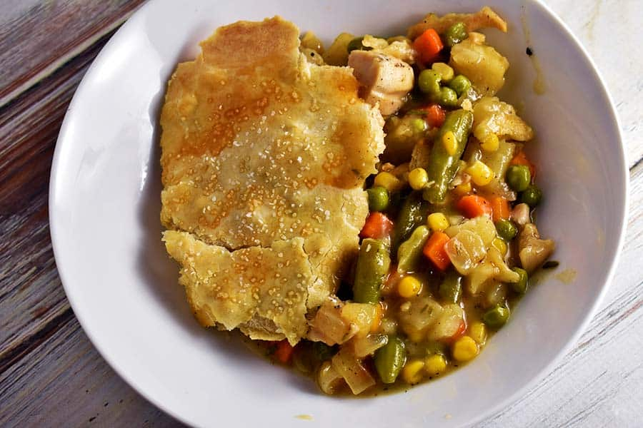 Turkey Pot pie in a white bowl