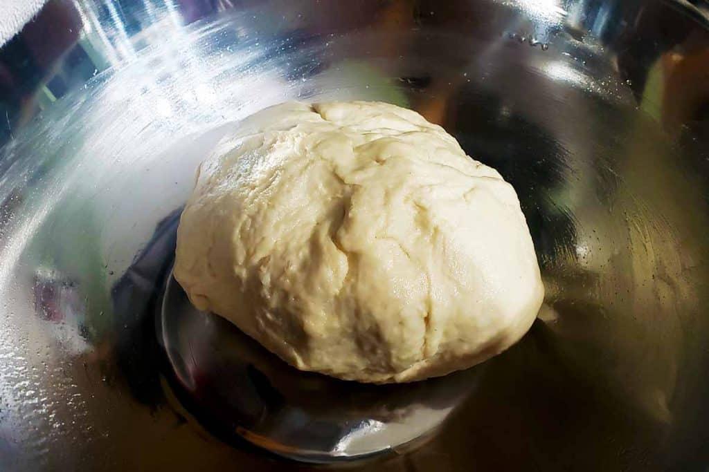 dough in a metal bowl