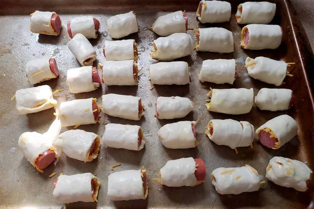 pigs in a blanket on pan uncooked