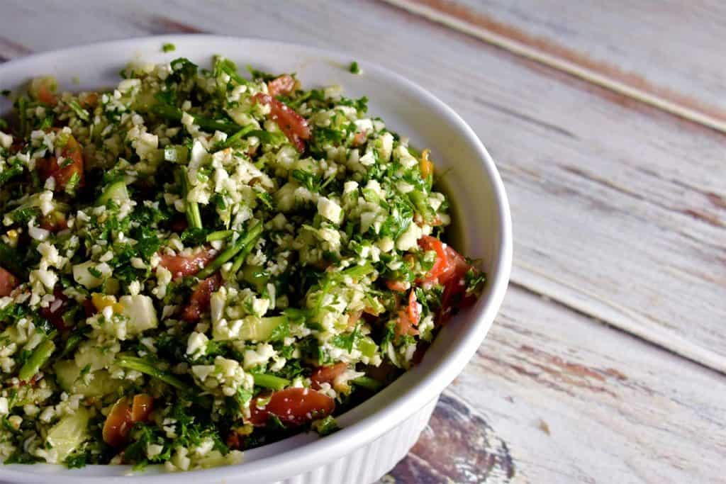 middle eastern chopped salad in a bowl