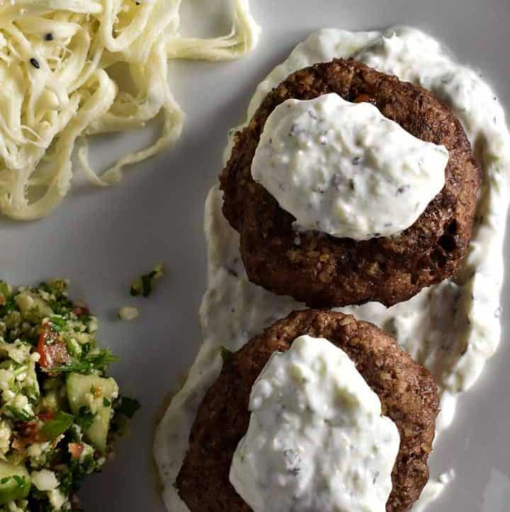 lamb kibbeh with string cheese and tabouleh