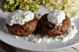 lamb kibbeh with tzatziki