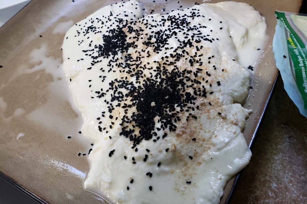 raw curd mozzarella with middle eastern spices on a plate