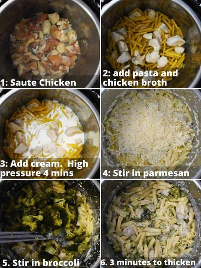 Step by step instructions for making chicken alfredo in the