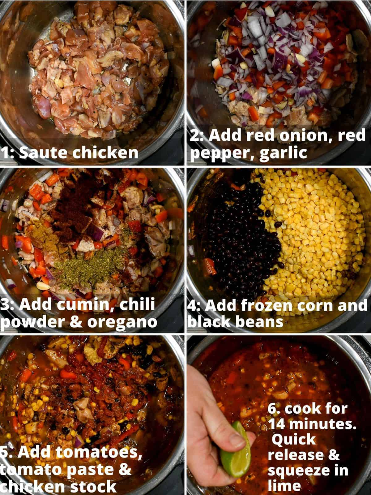 step by step instructions for making instant pot chicken tortilla soup