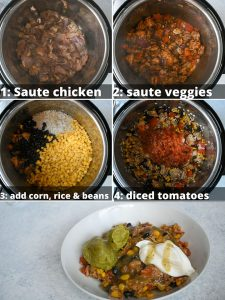 instant pot chicken burrito bowls step by step instructions