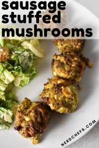 sausage stuffed mushrooms with feta cheese and salad