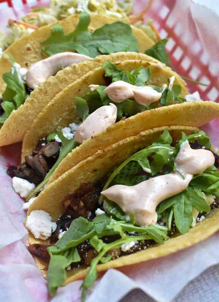 Mushrooms tacos on a corn tortilla
