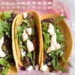 mushroom tacos in a red basket