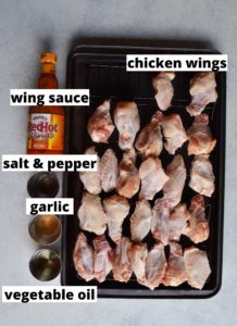 recipe ingredients chicken wings, salt and pepper, garlic and vegetable oil