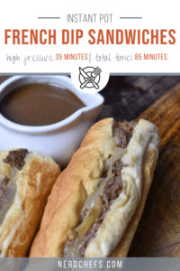 a roast beef sandwich with dipping gravy labeled for pinning to pinterest